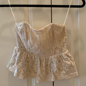 Pins & Needles off white lace crop top